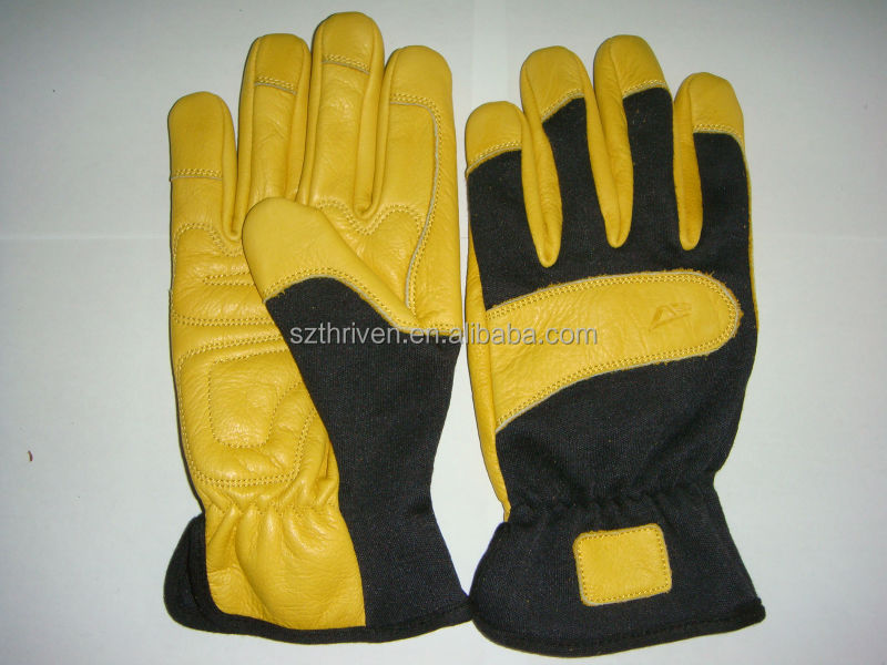 cow grain leather Teflon treatment leather gloves