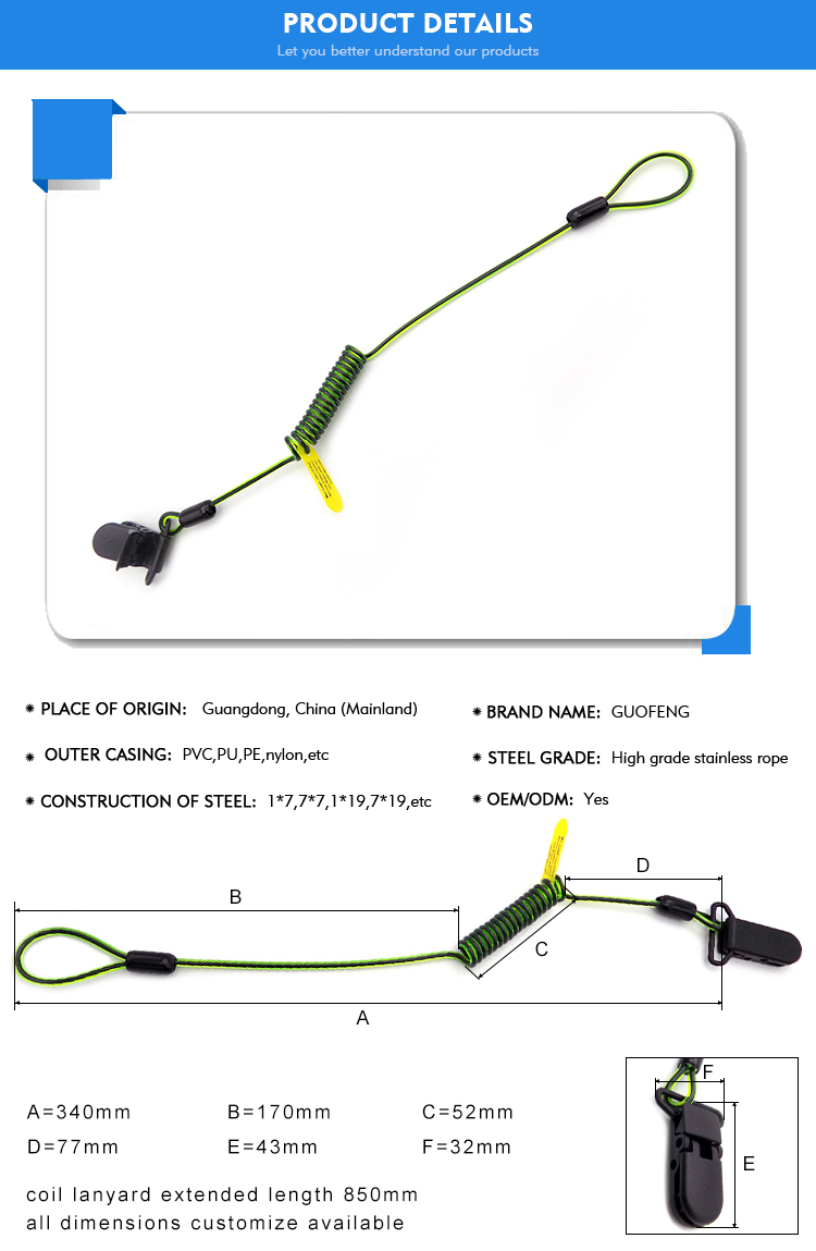 Most popular coil lanyard with reef hook for diving