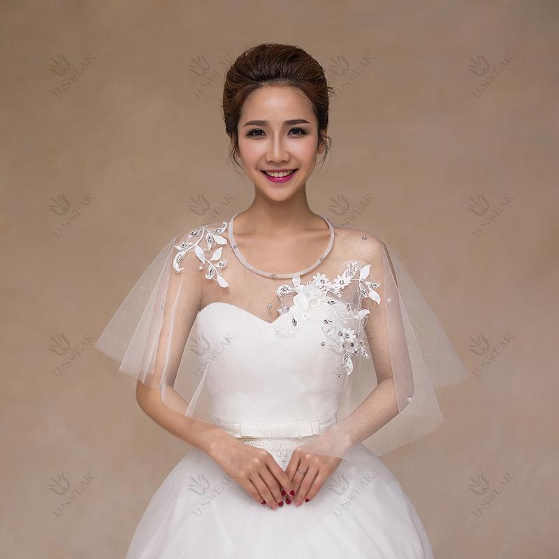 novias vestido simple corte nupcial blanco bolero jacket pj rihnstones flor del cordn de boda chaquetas