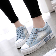New Arrival Fashion Thickened Denim Casual High Heel Shoes Women Shoestring Canvas Shoes