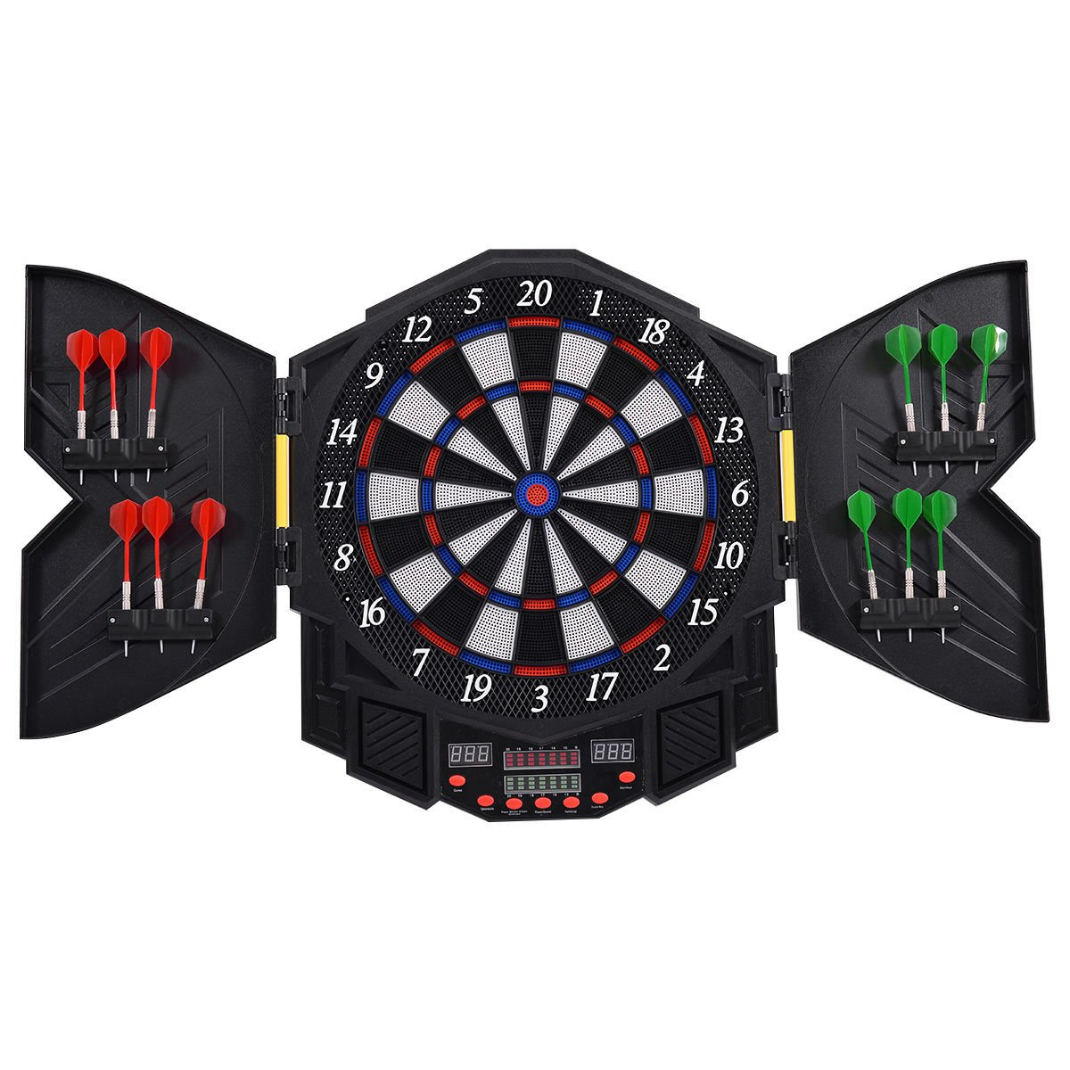 Goplus Professional Electronic Dart Board Cabinet Set Dartboard Game Room LED Display w/ 12 Darts