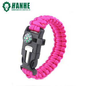 Women or Children Pink 550 Paracord Bracelet with Compass, Flint Fire Starter, Emergency Whistle