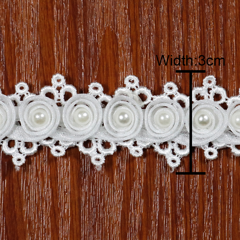 venice white elastic Milk silk lace 3D bead trimming band embroidery