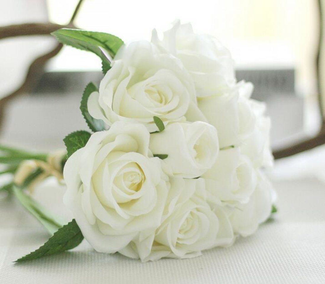 Cheap bunch of rose flowers find bunch of rose flowers deals on get quotations helen ou 1 bunch artificial bridal bouquet great decoration silk flowers romantic rose white izmirmasajfo