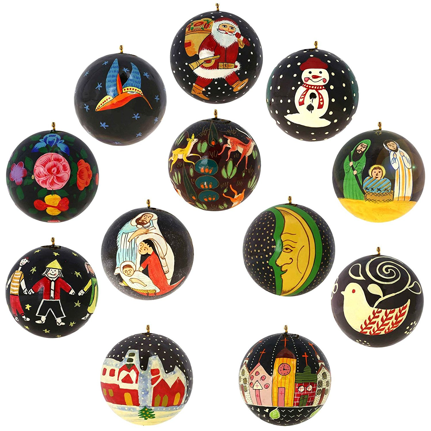 Buy Set of 12 Black Paper Mache Christmas Ornaments Handmade in ...