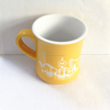[ZIBO HAODE CERAMIC]OEM yellow and white curl wasit shape engraved ceramic tea mug