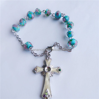 Huanan cockle glass rosary beautiful rosary bracelet with metal chain