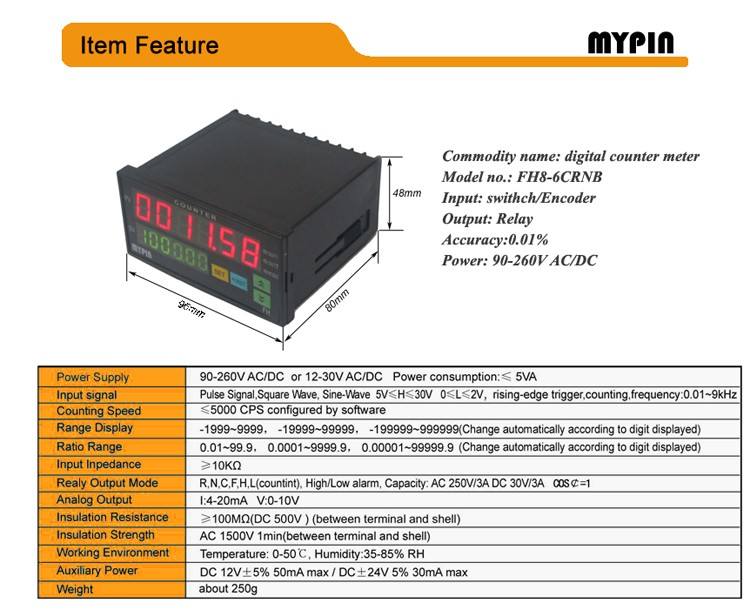 Mypin 2016 FH8-6CRNB popular 6 digits digital programmable counter meter