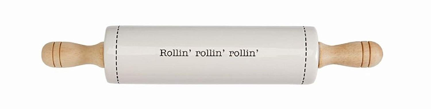 Mud Pie Cooking Kitchen Baking Everyday Ceramic Rolling Pin (Rollin)