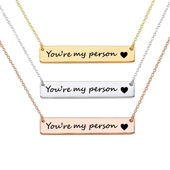 Stainless Steel Coodinate 14K Plating Stamp Nameplate Gold Bar Necklace