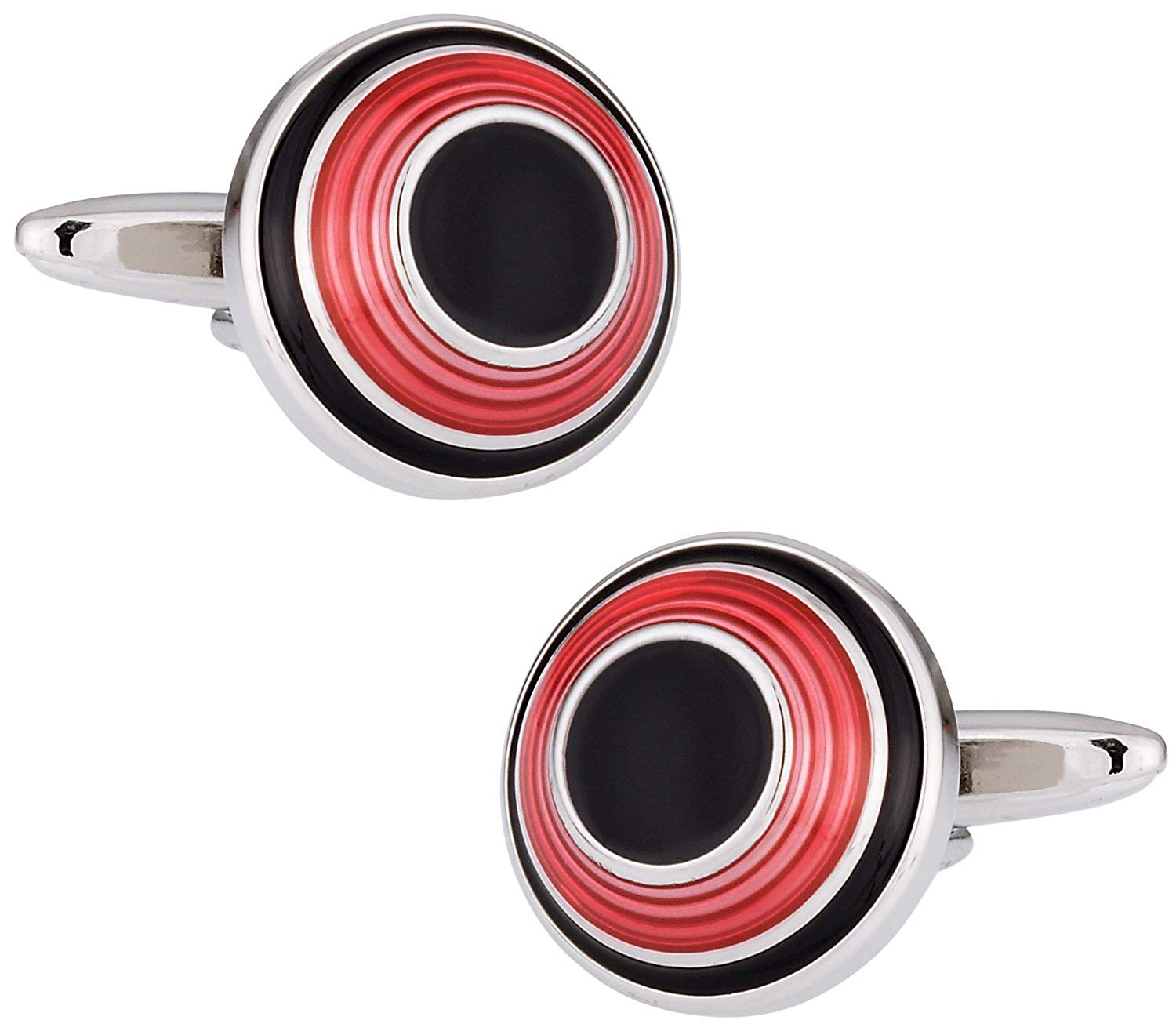 Cuff-Daddy Red & Black Dome Enamel Cufflinks