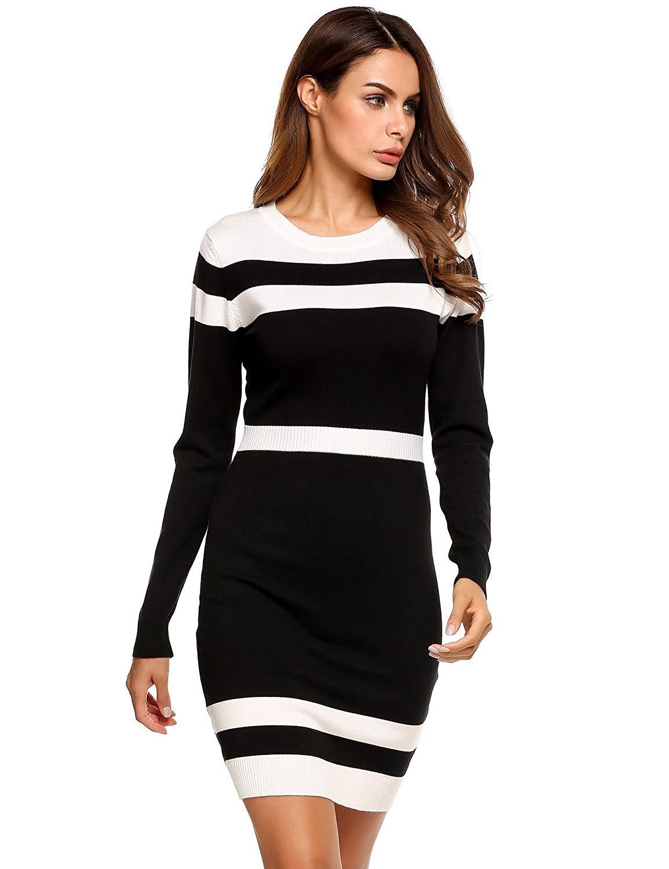 889aad6235bc Get Quotations · ELESOL Women's Colorblock Stripe Long Sleeve Cotton Knit  Sweater Shift Dress