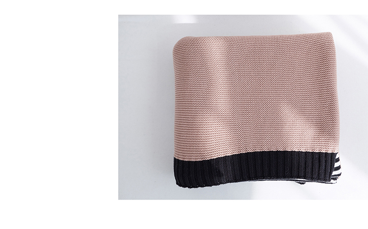 Hot sell 100% cotton pretty plain knit throw blanket