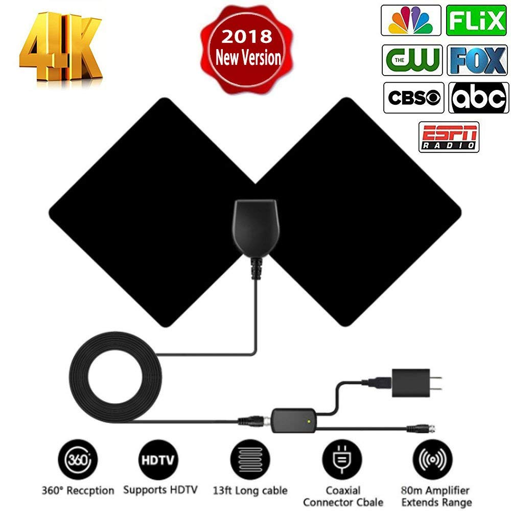 TV Antenna - Indoor Digital Amplified HDTV Antennas 50-80 Miles Range Switch Amplifier Signal Booster Life Local Channels Support 4K 1080p Coax Cable/Power Adapter