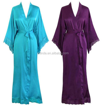 Women\'s Beautiful Satin Kimono Robe Long Lace Trim Pretty Dressing ...