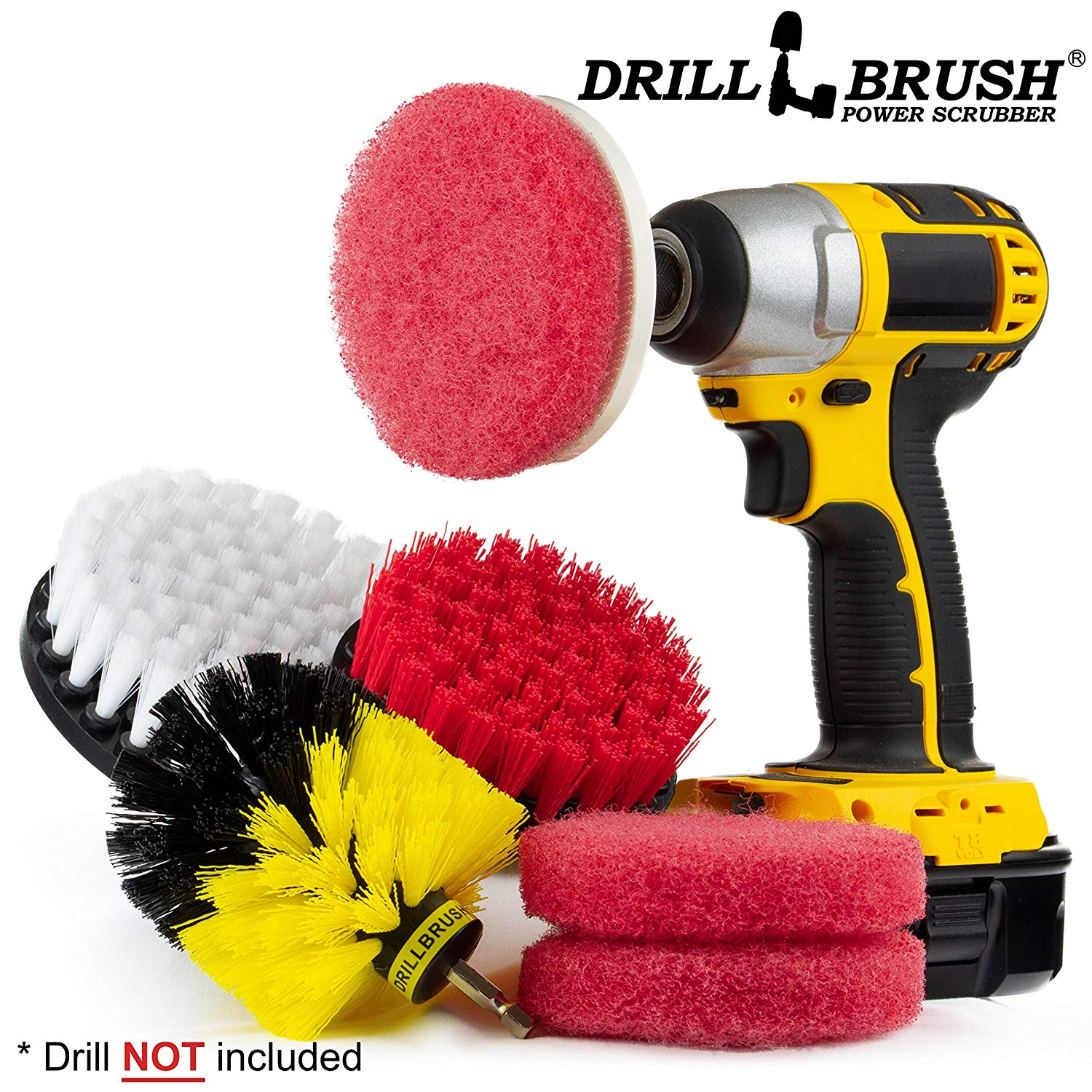 Drill Brush Power Scrubber Attachments - Bathroom Kitchen Cleaning Supplies - Brushes For Drill - Scouring Pads - Tile, Grout, Baseboard, Tub and Shower Hard Water Cleaner - Spin Floor Scrubber