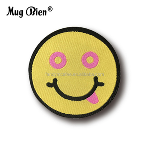 custom cute round size nylon woven emoji patches for hat cloth `