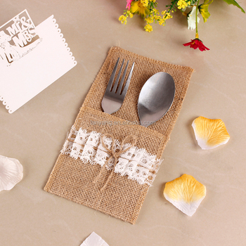 Burlap Silverware Holder Wish White Lace Table Decor Rustic Wedding