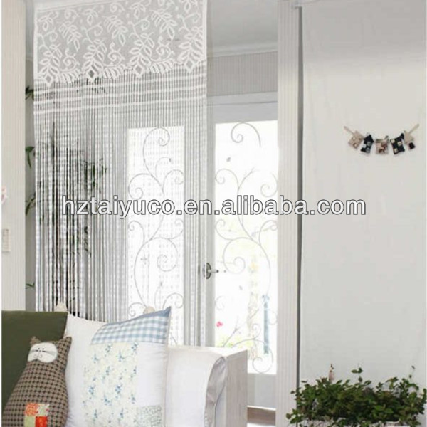 white polyester string lace curtain