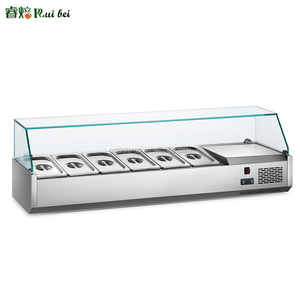 Commercial salad prep counter top glass display refrigerator, stainless steel salad bar cooler