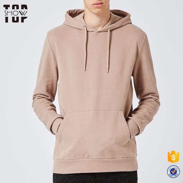 2017 hot new products men fashion clothing light brown classic fit pullover hoodie plain