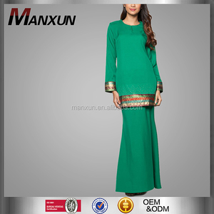 Wholesale Fashion Green Beaded Mermaid Latest Kebaya Modern Design Baju Kurung From Manxun