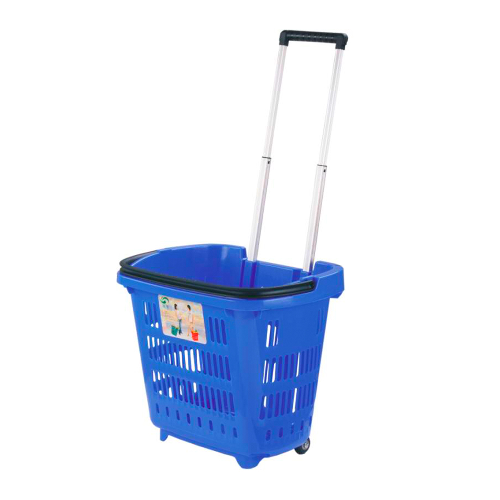 Wholesale New PP Plastic rolling shopping trolley basket for supermarket with 4 wheels