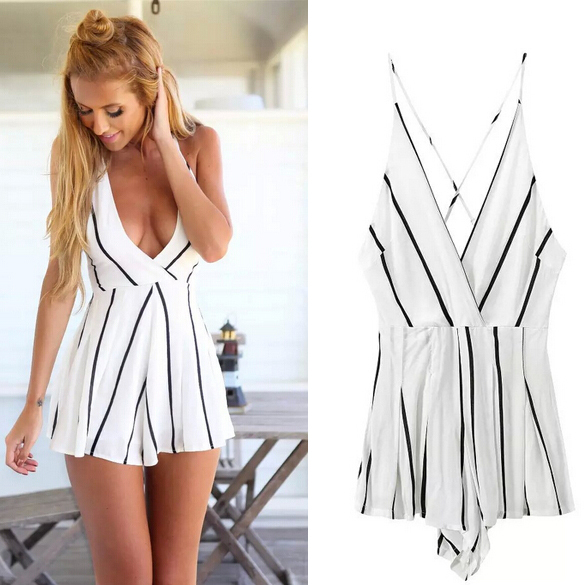 c15334ce579 Get Quotations · Women overalls black striped mono mujer 2015 fashion beach  bodysuit macacao feminino spain style white jumpsuits