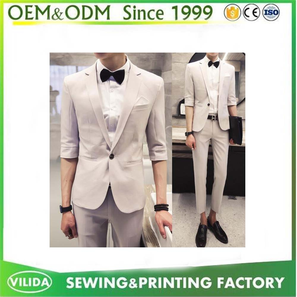 2016 Korean Style Design For Men Casual Slim fit Half Sleeve Tailor Suit
