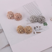 Wholesale 24K Gold Simple Design Cute Stud Earrings Womens Big Drop Ball Earrings