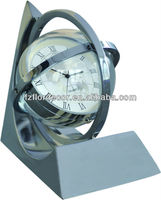 promotional metal clock alloy tellurion/globe shape desktop clock CO0357