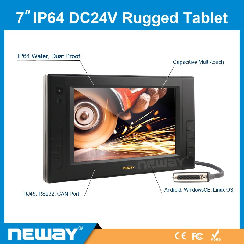 7 inch Win CE Andriod Linux battery mount panel PC