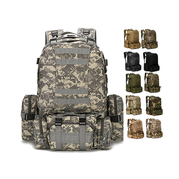Outdoor Sports Hiking Camping Mountain Climbing Military Large Capacity Tactical Combined Backpack with 3 MOLLE Bags