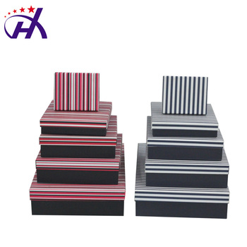 High Quality Cheap Red And Black And White Stripe Paper Gift Box