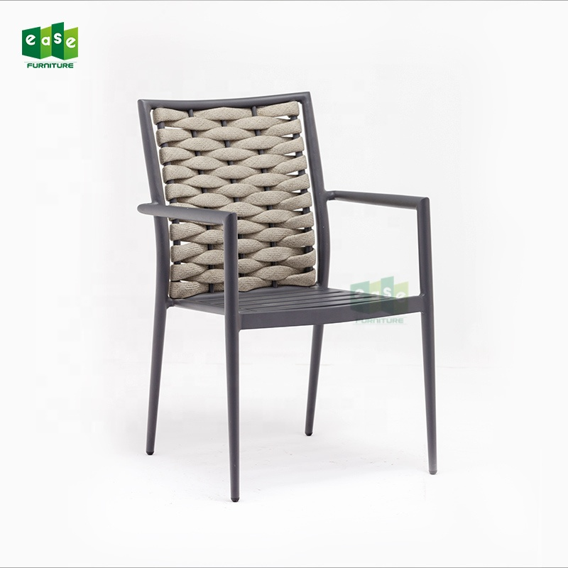 patio garden table set chairs rope woven aluminum frame design