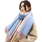 2019 New arrival Solid colors cashmere long scarf warm warp shawl with fur pompom fringe