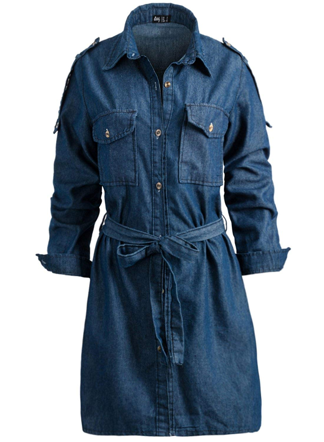 45cce5443a Get Quotations · ililily Women Button Down Chambray Denim Long Sleeves Tunic  Blouse Belted Shirt Mini Dress