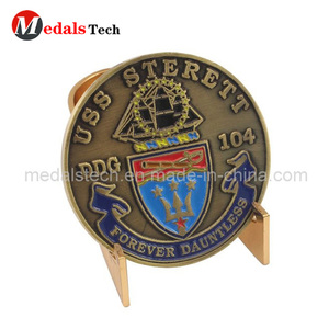 Hot sell customized antique bronze finish soft enamel challenge coins with stand