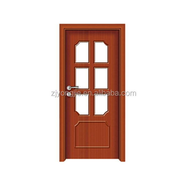Hot sale good quality MDF+Finger joint fir wood+PVC interior moulded veneer mdf doors