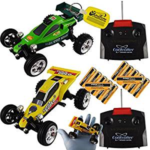 x2 Mini RC Remote Control Dune Buggy Bundle Yellow + Green (4 Items), Scale 1:43 Palm Sized Radio Control Buggy Kart Car, 2 Combo Different Frequency + x12 Duracell Procell AA Batteries +WBK Key Chain