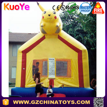 0.55mm pvc wholesale price Pikachu jumping house inflatable with Pokemon castle