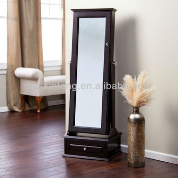 Transitional Cheval Mirror Locking Jewelry Armoire With Base