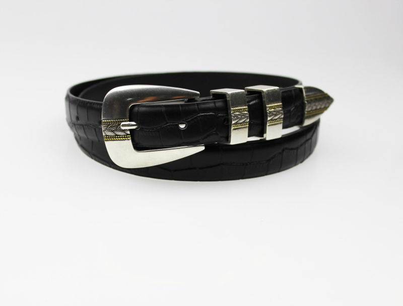 Black Cow Boy Cow Girl Leather Belt With Western Belt Buckles ...