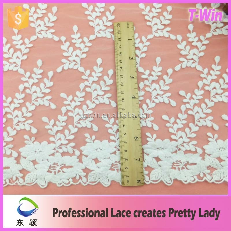 2015 Fancy netting embroidered trimming for making ladies gown /27cm widen cotton embroidery mesh lace trimming