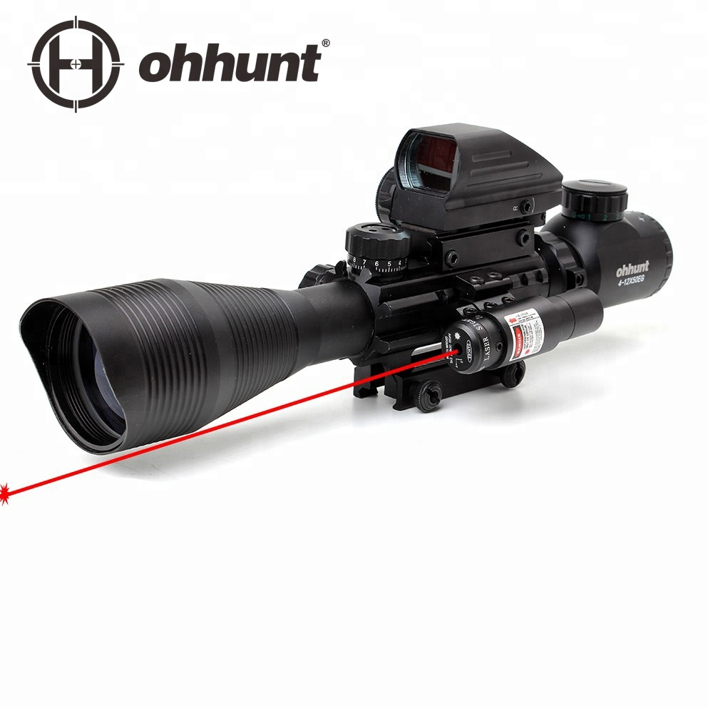 Ohhunt 4-12X50 Combo Red & Green Illuminated Reticle Range finding Crossbow with Red Laser rifle scope