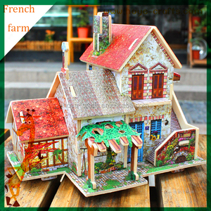DIY architecture building wooden 3d jigsaw puzzles for adults gifts