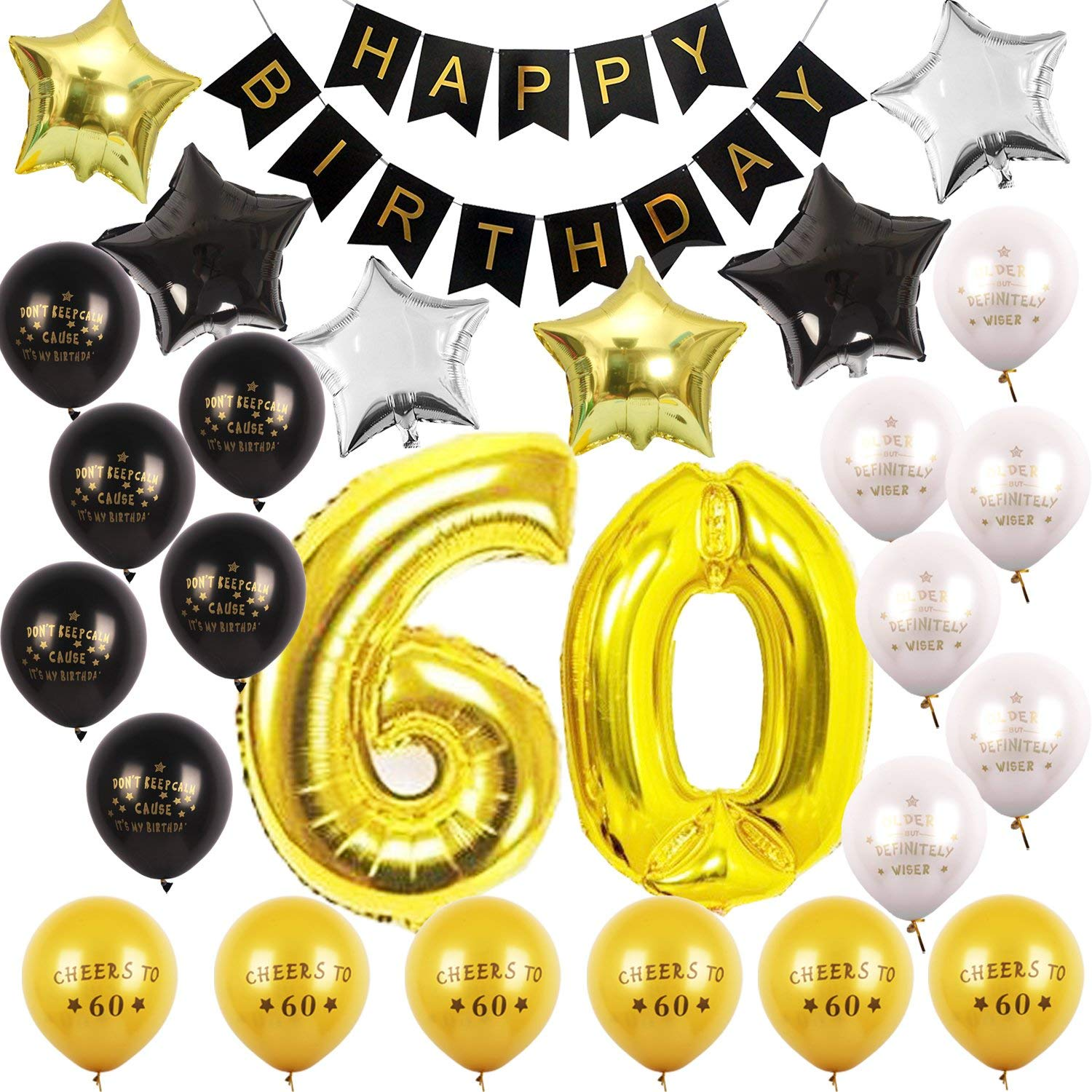 60th BIRTHDAY PARTY DECORATIONS KIT - Happy Birthday Black Banner, 60th Gold Number Balloons,Gold, Black and White with Printed Latex Balloons Number 60, Perfect 60 Years Old Party Supplies Bday free