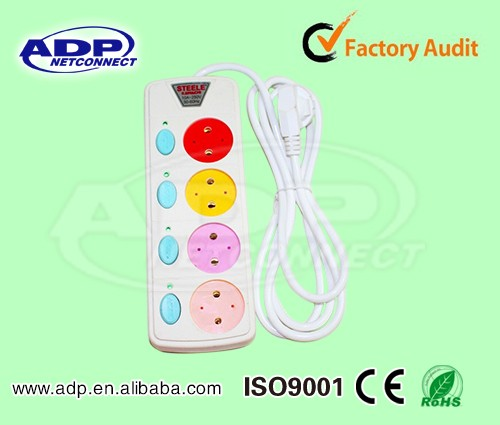 Colour Customized 3 Meter 6 Digits Universal Power Strip Socket