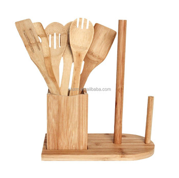 Muti-functional Bamboo Cooking Utensil Set With Paper Towel Holder Kitchen  Flatware Cutlery Caddy - Buy Bamboo Kitchen Utensil Set,Cute Kitchen ...