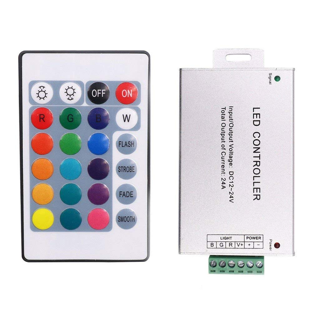 XUNATA DC 12V-24V 24A 24 Key IR Remote LED Controller for RGB LED Neon Rope Strip Light